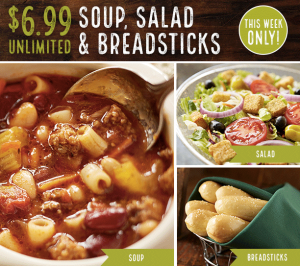 now through march 30th olive garden is offering unlimited soup salad and breadsticks lunch combo for just 699 - Olive Garden Unlimited Soup And Salad