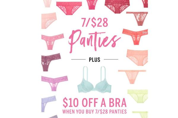 f4ef2b2deecf Victoria's Secret is offering 7 pairs of panties for $28 PLUS you can save  $10 off of a Bra when you take advantage of the 7 pairs deal.