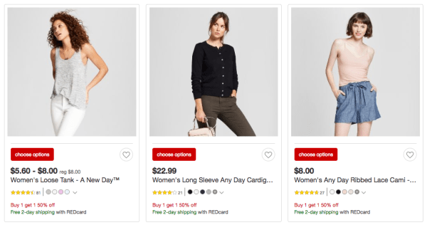c862841e6440d Only through May 5th, shop Target where they are offering Buy One Get One 50%  off All A New Day & Universal thread women's tops.