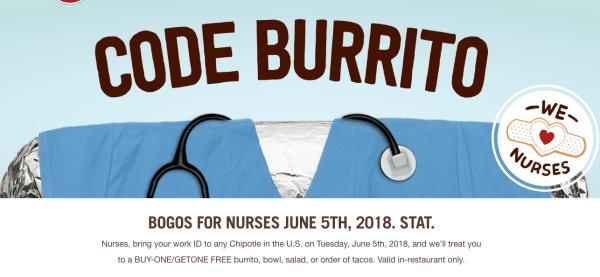 fc62709e5 BOGO Free Chipotle Burritos, Bowls, Salads, or Tacos for All Nurses Today  Only
