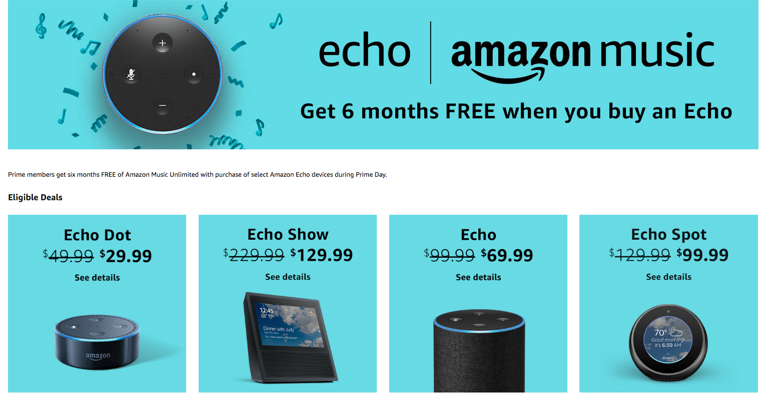free 6 months amazon music unlimited   47 value  with echo
