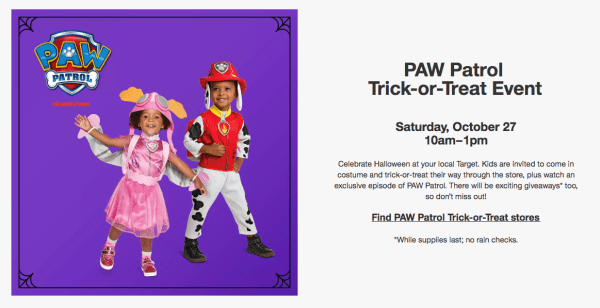 FREE PAW Patrol Trick-Or-Treat Event at Target on 10 27 - My DFW Mommy 87881979e2c8