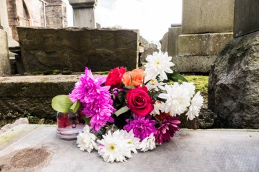 Flowers on a gravestone