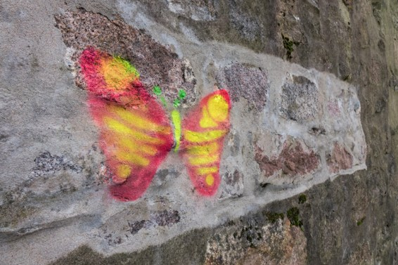 Butterfly drawn on a repaired wall