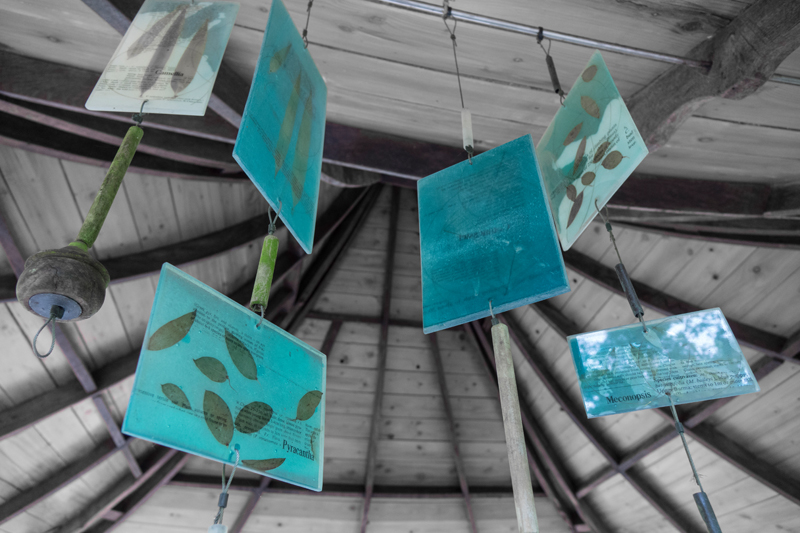 Blue perspex panels with garden artwork in Pitlochry