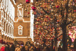 christmas time town lights
