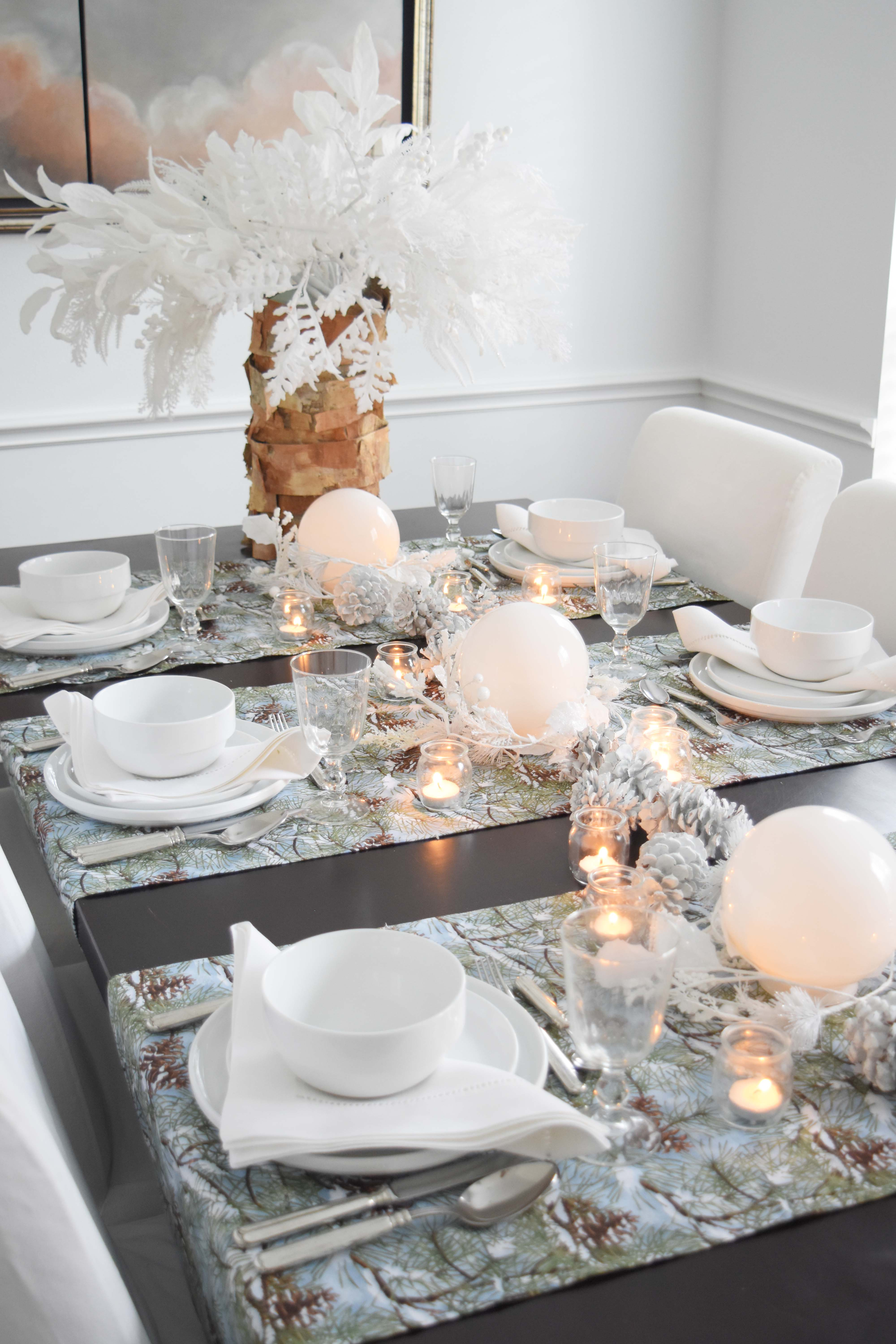 White Forest Christmas Table Setting Once Again My Dear Irene