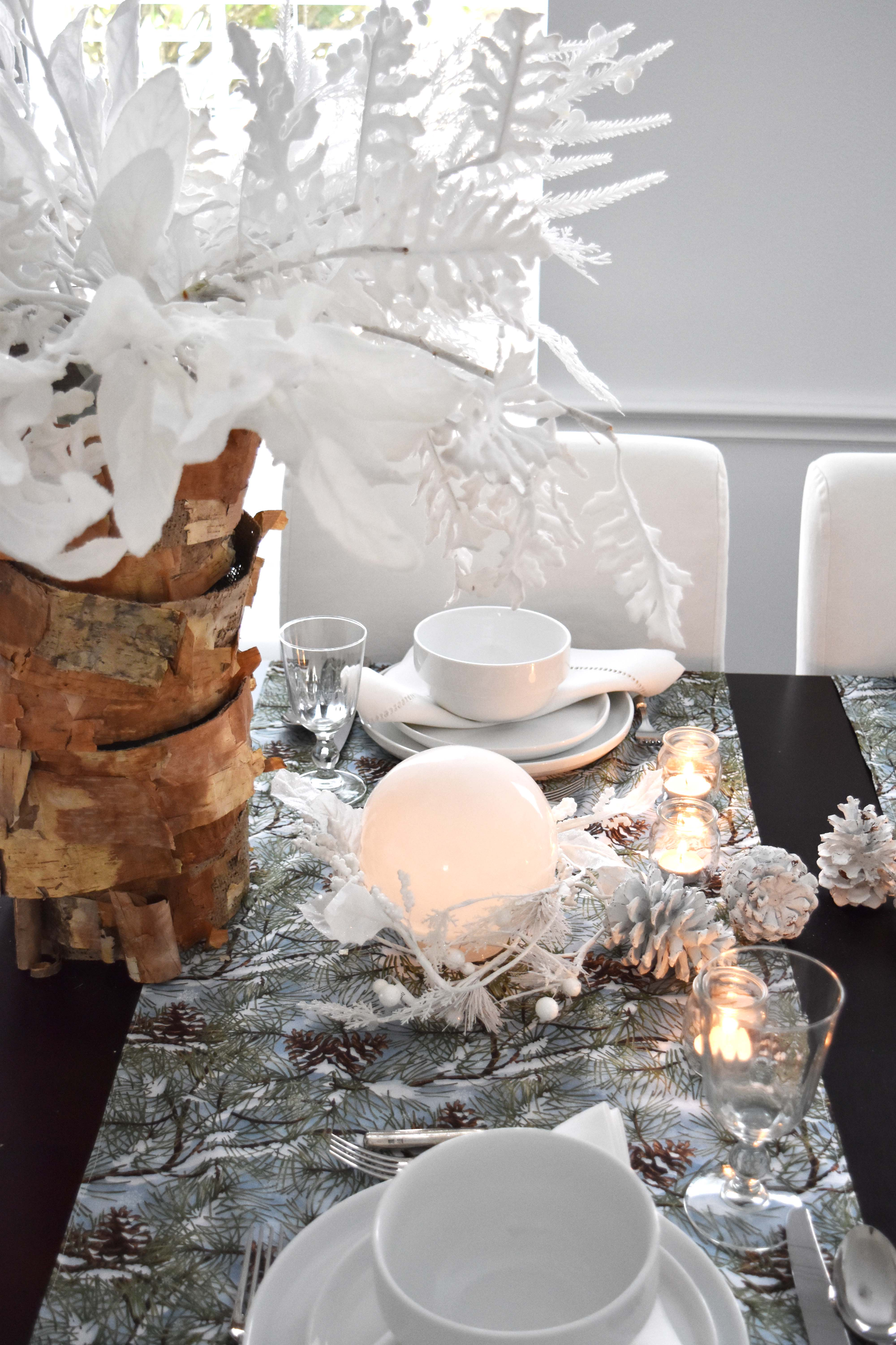 White Forest Christmas Table Setting | Once Again, My Dear Irene
