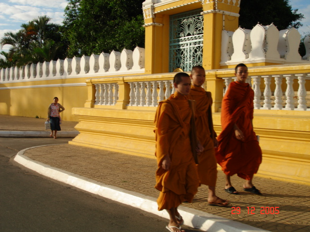 Monks doing their morning walks. They are a welcome site when you're out and around town