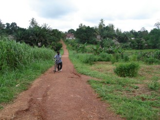 the road to the health center -- people have to walk miles to get help