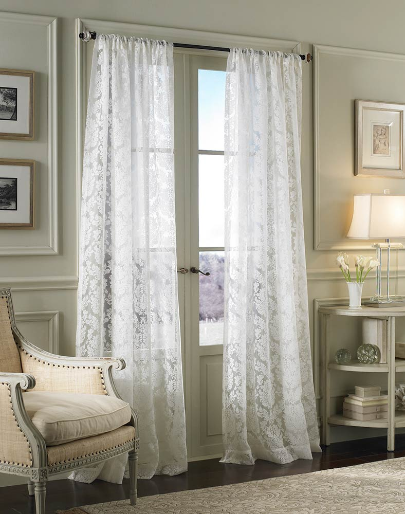 My Decorative Damask Lace White Pole Top Window Curtain Panel Larg