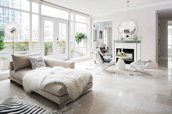 Marble Designs Living Room with White Marble Flooring Floor Tiles in White Monochromatic Space
