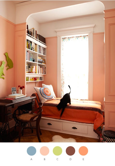 If you have a room that doesn't get a lot of sun and always feels cold paint it a warm colour like this, you will notice the change immediately.  Image from designsponge.com