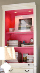Why not add a pop of colour to your bookshelves interior.