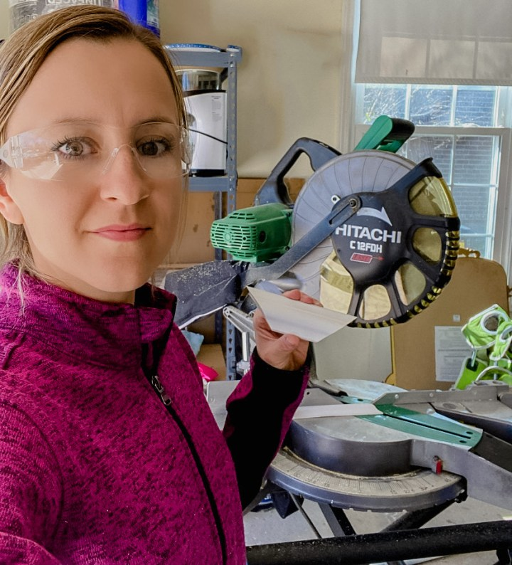 Family Room – One Room Challenge Week 4: Tips for Cutting Wall Trim using a Miter Saw