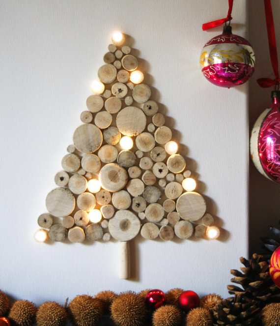 Christmas tree made of small driftwood