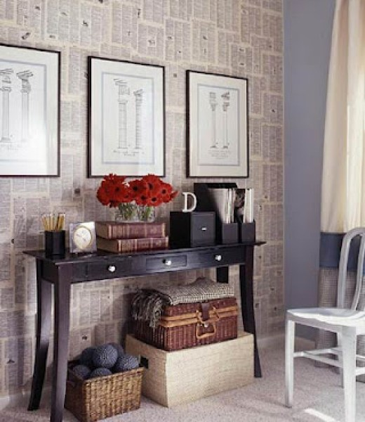 Decorate a wall with newspaper2
