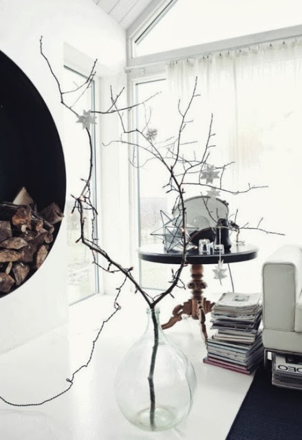 Decorating for Christmas with branches