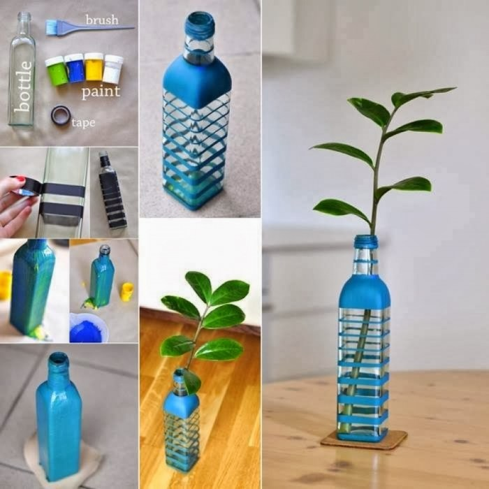 DIY home decoration with flowers in the bottle