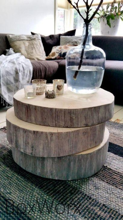 Decorate with benches and natural wood logs10