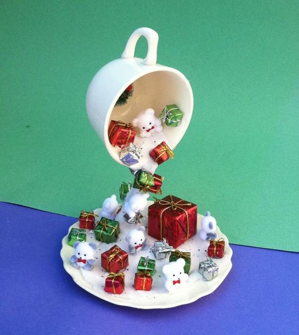Christmas decorations with ornaments spilled from cups (7)