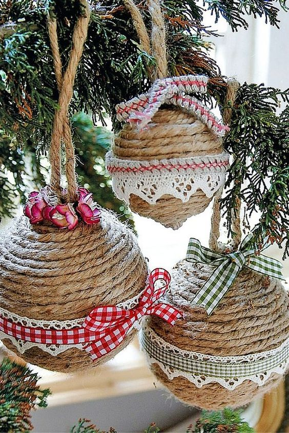 Christmas ornaments made of string (16)