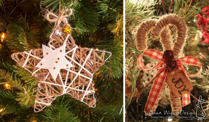 Christmas ornaments made of string (6)