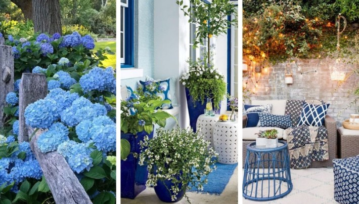 Enjoyable garden decorating ideas in shades of blue