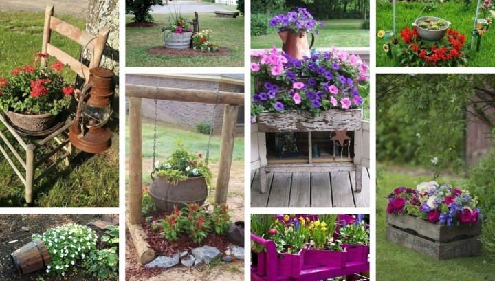 Amazing DIY garden decorations created from old junk – 32 inspirations that you can easily create