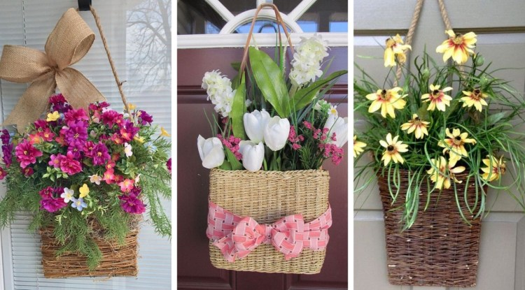 Beautiful spring decorations on the front door based on a wicker basket