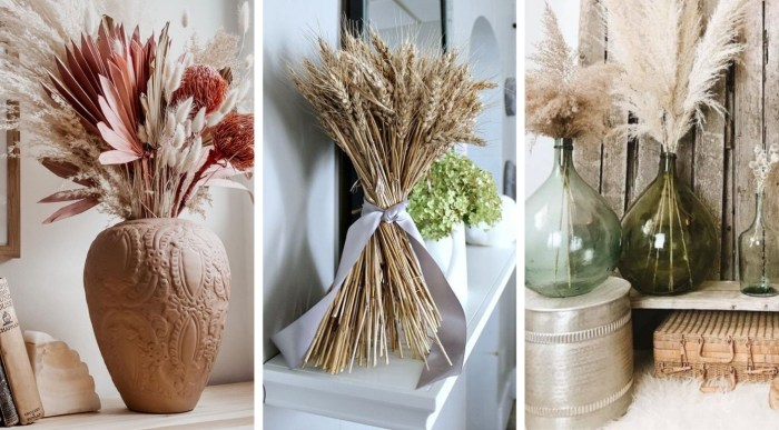 20 Great ideas with bunches of grain and dried flower arrangement for a trendy decor