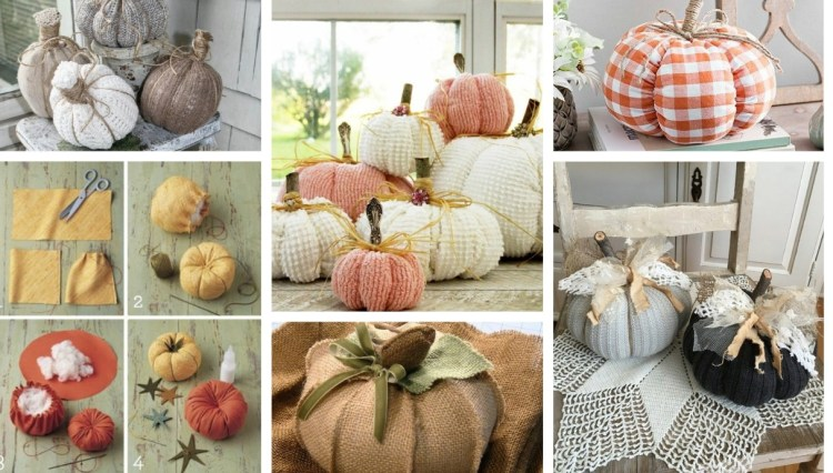 20 DIY Decorating ideas for autumn with pumpkins that you will make yourself using a piece of old fabric