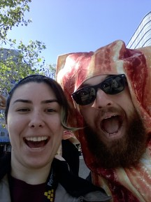 If you took a picture with this guy and twitted it, you got a free Bacon Sandwich.