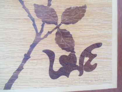 Vintage Signed Marquetry Wall Art Rose Love love close up 3