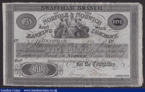 Norfolk & Norwich Joint Stock Banking Co. £5 dated 183_