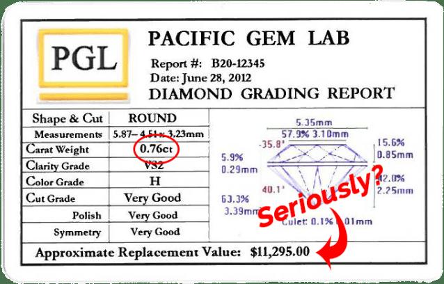 diamond appraisal card showing high value