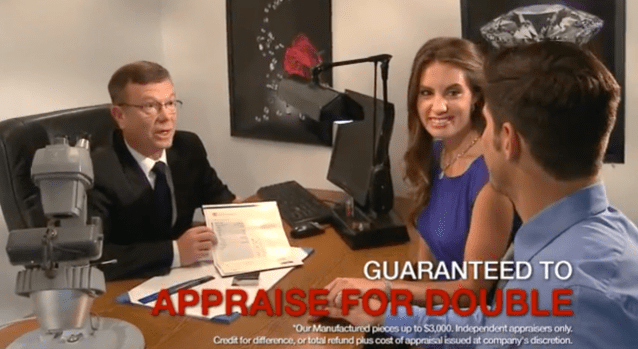 ad showing diamond appraise for double guarantee