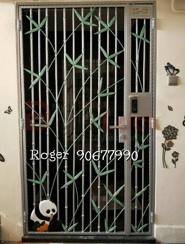 4. Panda Silver with Green Leaf Wrought Iron HDB Gate 1.0 copy