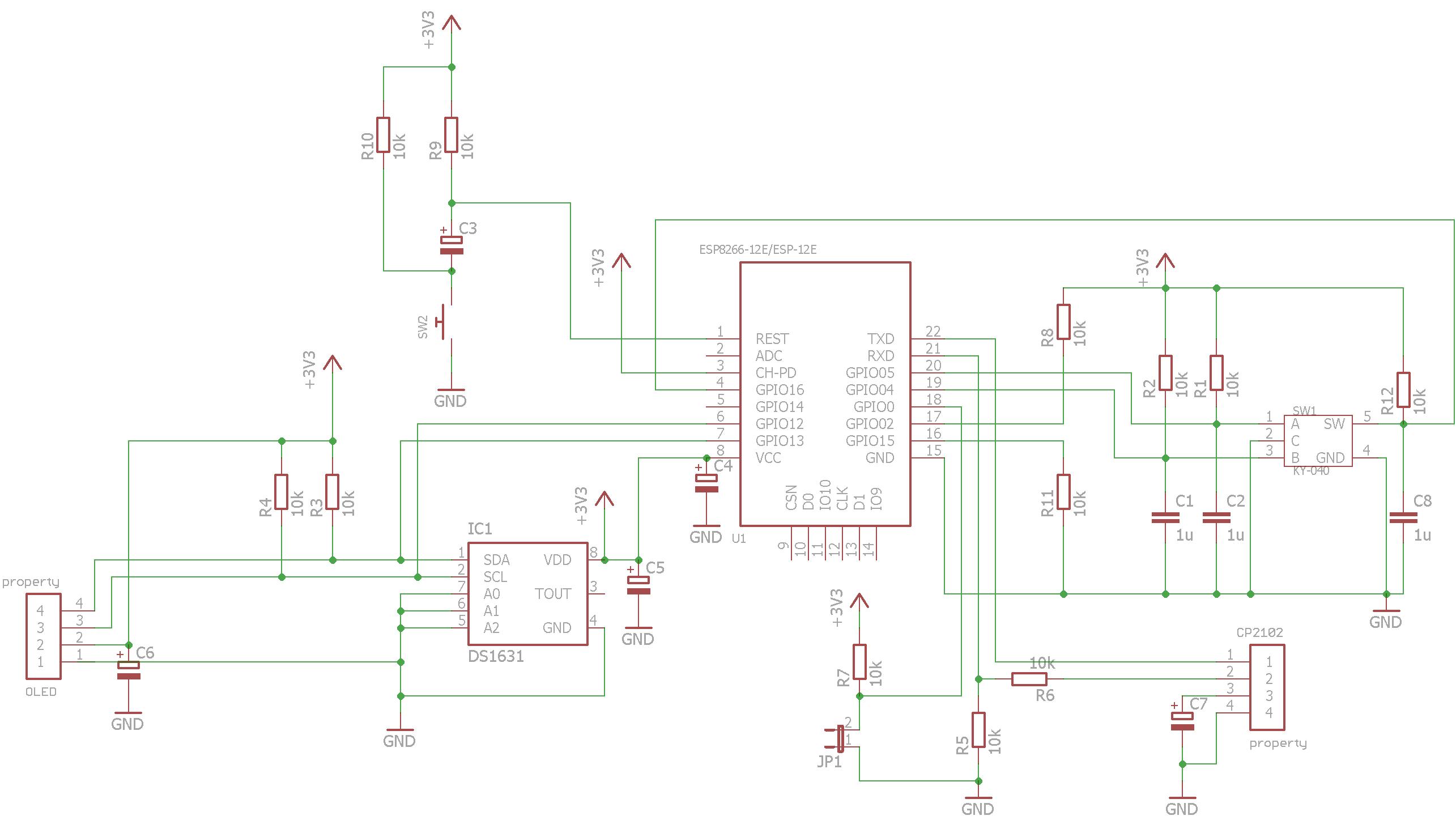 ESP8266 Thermostat -First ESP-12E Circuit