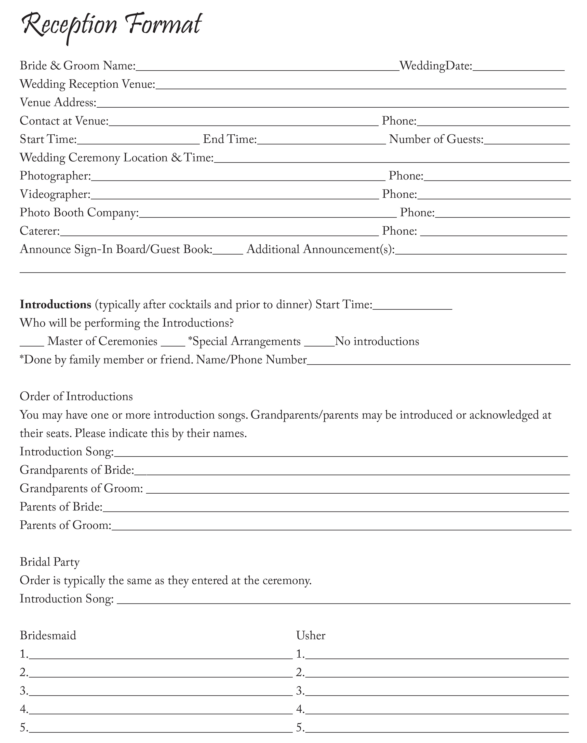 Reception Format Sheet