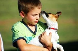 dog with boy How Do Dogs Help Autistic Children?