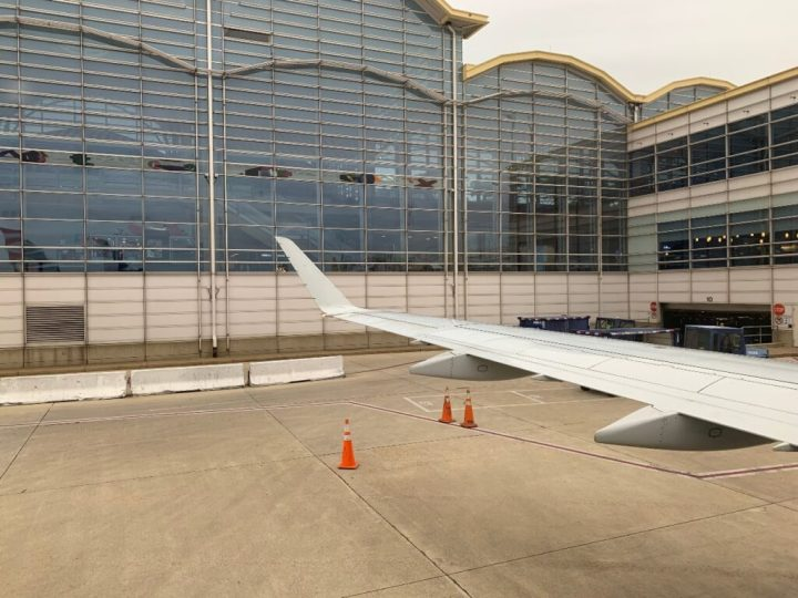 Wing view of American Airlines plane at Ronald Reagan International Airport
