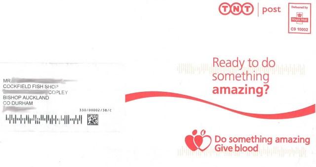 National Blood Service Chip Shop Mistaken Address