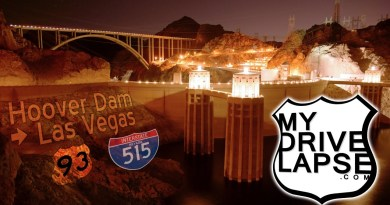 Hoover Dam at night, and the drive to Las Vegas