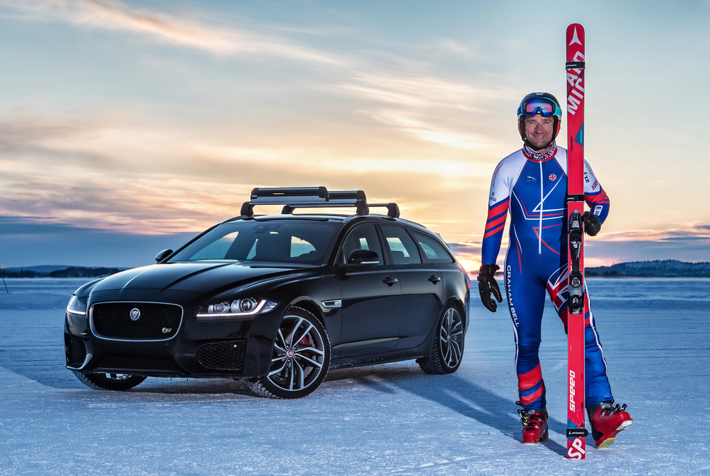 Former British Olympic Skier Graham Bell has smashed the GUINNESS WORLD RECORDS title for the 'fastest towed speed on skis', powered by the new Jaguar XF Sportbrake