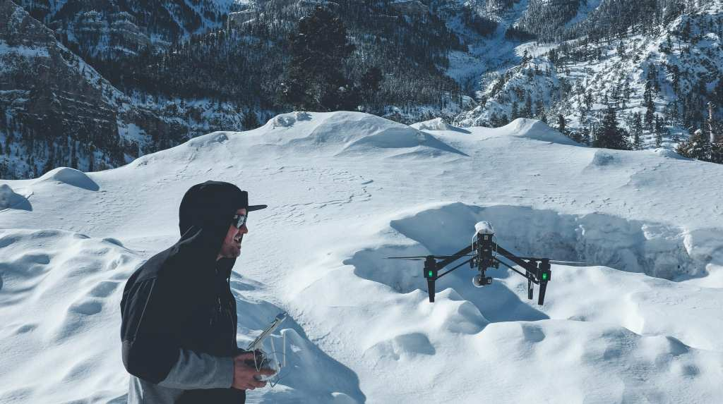 Drone snow flying