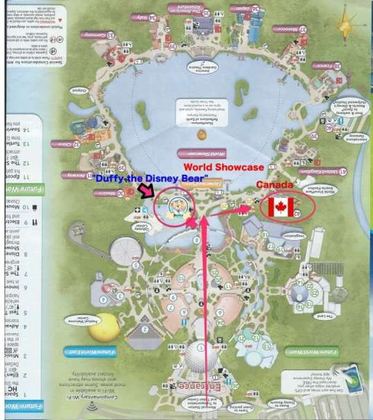 EPCOT map Canadian Pavilion and Duffy Disney Bear Pavilion