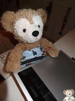 Duffy the Disney Bear with his Wacom Bamboo tablet