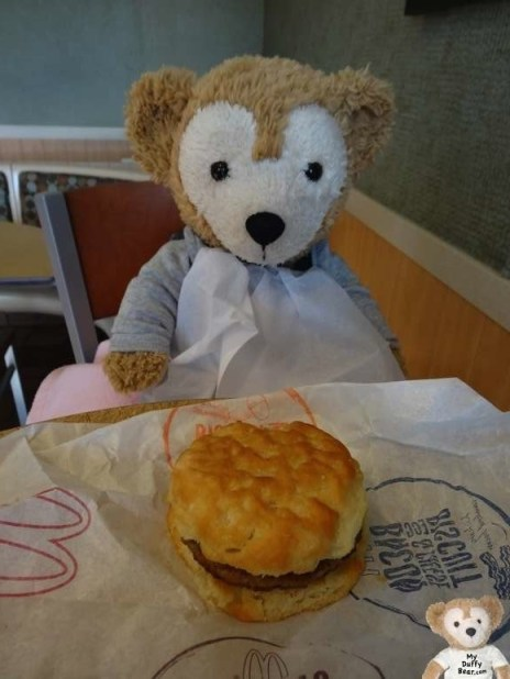 Duffy the Disney Bear gets a McDonalds Sausage Biscuit
