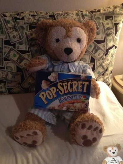 Duffy the Disney Bear sharing his Pop Secret Popcorn